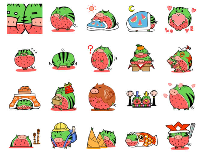 Nisi-Uribou Greeting And Season Stickers Pack for Telegram