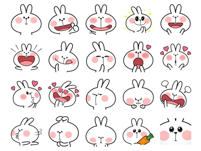 Spoiled Rabbit Facial Expression Stickers Pack for Telegram