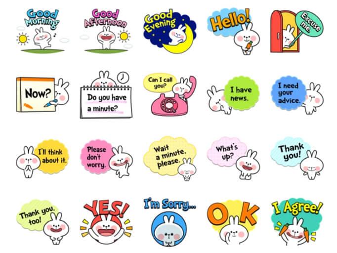Spoiled Rabbit Useful Talk Stickers Pack for Telegram