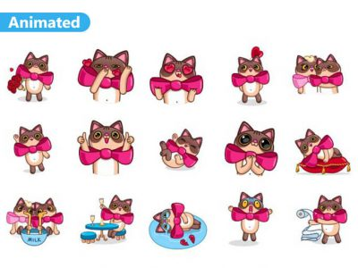 Valentine Cat Animated Stickers Pack for Telegram